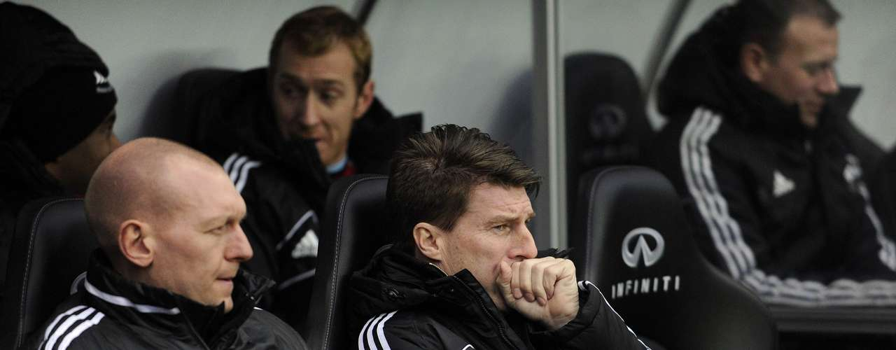 Swansea City's manager Michael Laudrup (C) reacts during their English Premier League soccer match.