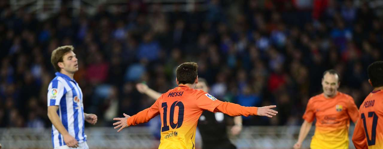 Barcelona's Lionel Messi celebrates a goal during their Spanish first division soccer match.