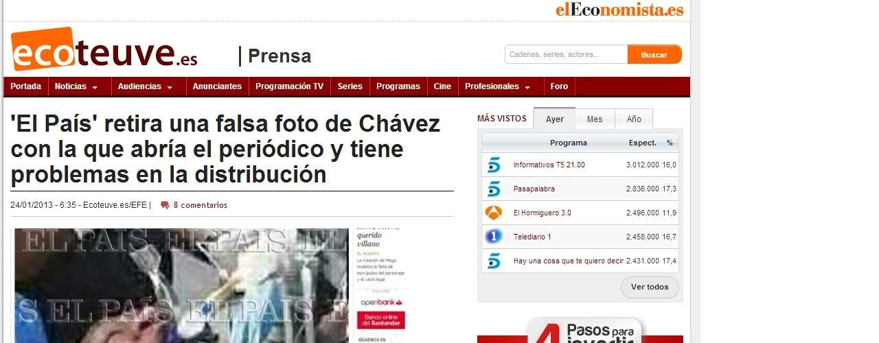 El País is one of the most reliable newspapers internationally, so the decision to publish the photo without verifying its authenticity surprised everyone. 'It's evident they acted lightly with this false image of Chavez,' said Venezuelan historian Elías Pino Iturrieta.