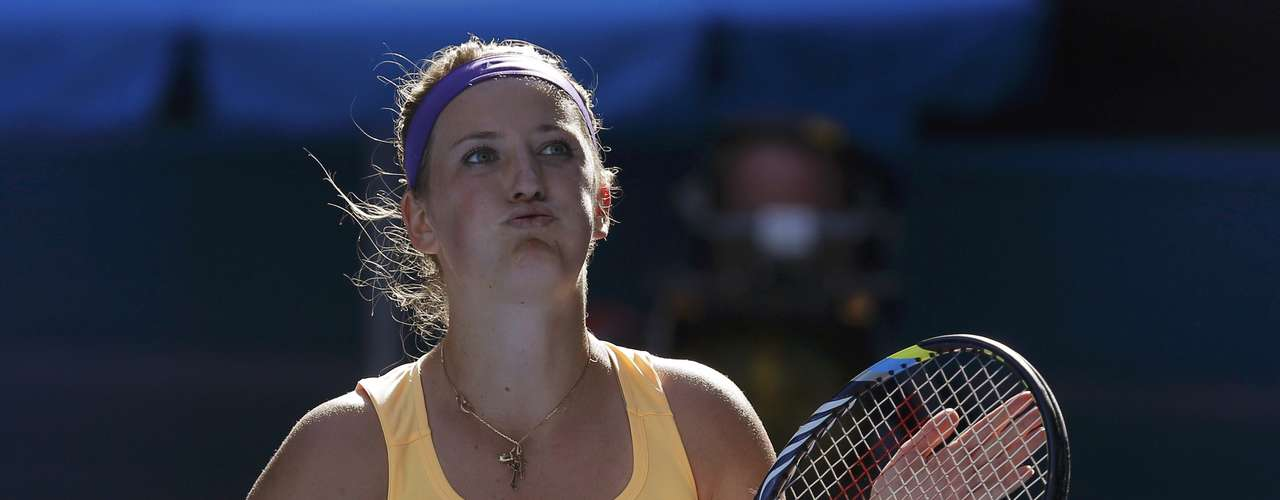 Victoria Azarenka of Belarus reacts after defeating Sloane Stephens of the U.Ss.