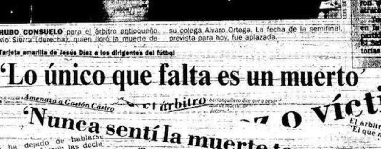 Su pasión y generosidad con el fútbol quedó deshecha cuando mandó asesinar al árbitro Ortega en Medellín tras perder una apuesta por la derrota del DIM ante América de Cali en noviembre de 1989.Entra a la página de 'Escobar, El Patrón Del Mal''Escobar, El Patrón del Mal', ¿quién es quién?Las Narco-novelas colombianas, polémicas y exitosasEllas son 'Las Muñecas de la Mafia'.