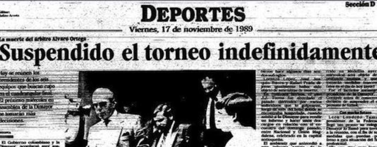 El viernes 17 de noviembre de 1989 se declara suspendido indefinidamente el torneo colombiano de fútbol -tras un acuerdo entre los presidentes de los clubes- en ese entonces pertenecientes a la Dimayor.Entra a la página de 'Escobar, El Patrón Del Mal''Escobar, El Patrón del Mal', ¿quién es quién?Las Narco-novelas colombianas, polémicas y exitosasEllas son 'Las Muñecas de la Mafia'.