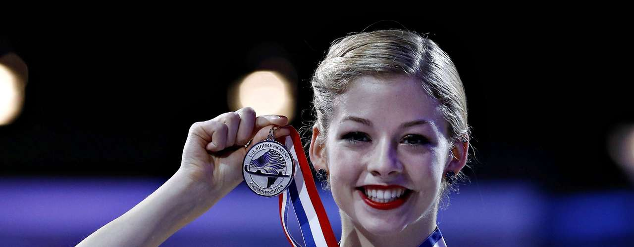 Gracie Gold holds her silver medal won in the Ladies competition at the U.S. Figure Skating Championships in Omaha, Nebraska, January 26, 2013.  REUTERS/Jim Young  (UNITED STATES - Tags: SPORT FIGURE SKATING)