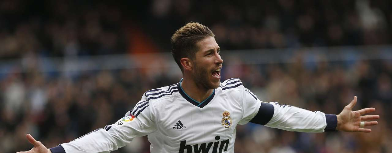 Real Madrid's Sergio Ramos celebrates his goal.