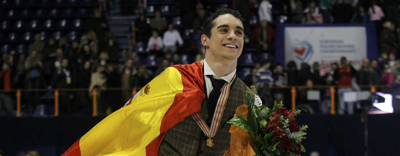 Gold medallist Javier Fernandez of Spain celebrates during the award ceremony for the men's free skating program at the European Figure Skating Championships in Zagreb January 26, 2013.                   REUTERS/Antonio Bronic (CROATIA  - Tags: SPORT FIGURE SKATING)