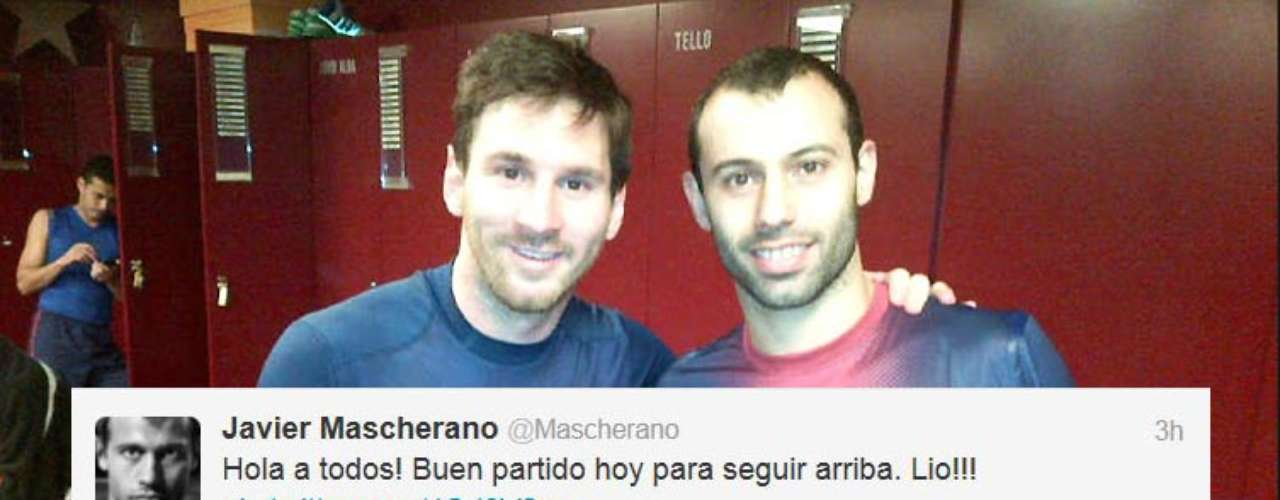 Javier Mascherano tweeted this picture of he and Lionel Messi after the Ballon d'Or winner torched Osasuna for four goals in a 5-1 Barcelona win.