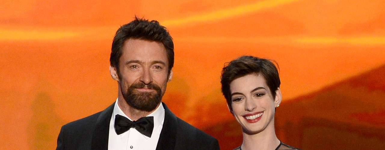 Hugh Jackman and Anne Hathaway introduced their nominated film, 'Les Miserables' traditionally and hilariously using '2013' terms, where he's \