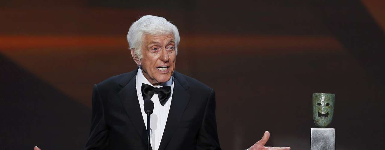 Actor Dick Van Dyke accepts the life achievement award and jokes that he's especially famous for his British cockney accent in Mary Poppins, one of the worst British accents in film history.