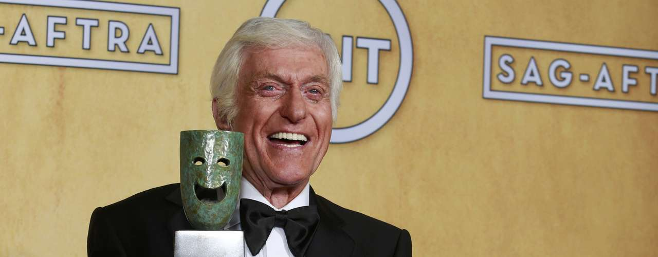 Actor Dick Van Dyke Life holds his award backstage after recieving the life achievement award.