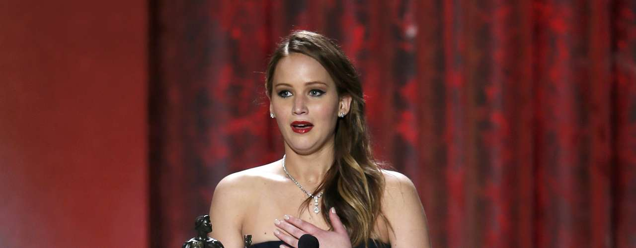 Jennifer Lawrence gets a little vaklempt as she accepts the award for outstanding female actor in a leading role for \