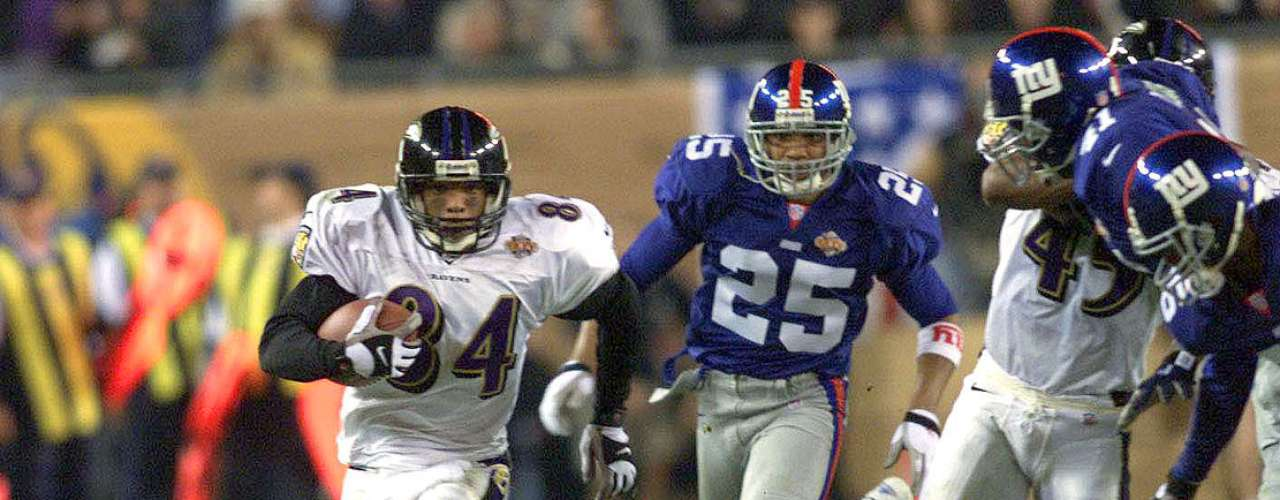 Super Bowl XXXV: The Baltimore Ravens dominated the mistake-proken Giants 34-7 with the Ravens' defense lead by Ray Lewis dominating.