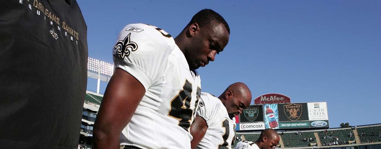 Después de la tragedia, pese a no jugar en su estadio, los Saints hicieron un homenaje a las víctimas en el juego ante los Raiders de Oakland en el McAfee Coliseum, en Oakland, California, el 1° de septiembre de 2005. El equipo jugó sus partidos de local en Baton Rouge, la capital de Luisiana, y en San Antonio, Texas.