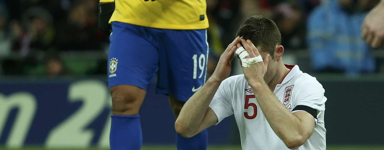 England's Gary Cahill reacts during the international friendly soccer match against Brazil.