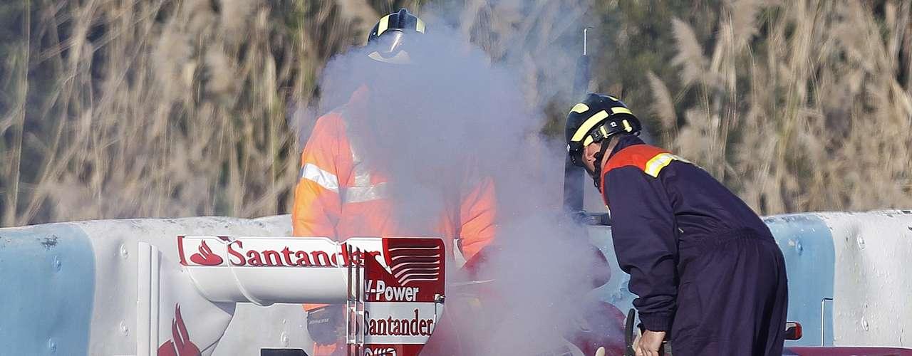 El fuego generó un buen susto en el cuarto día de entrenamiento del equipo italiano.