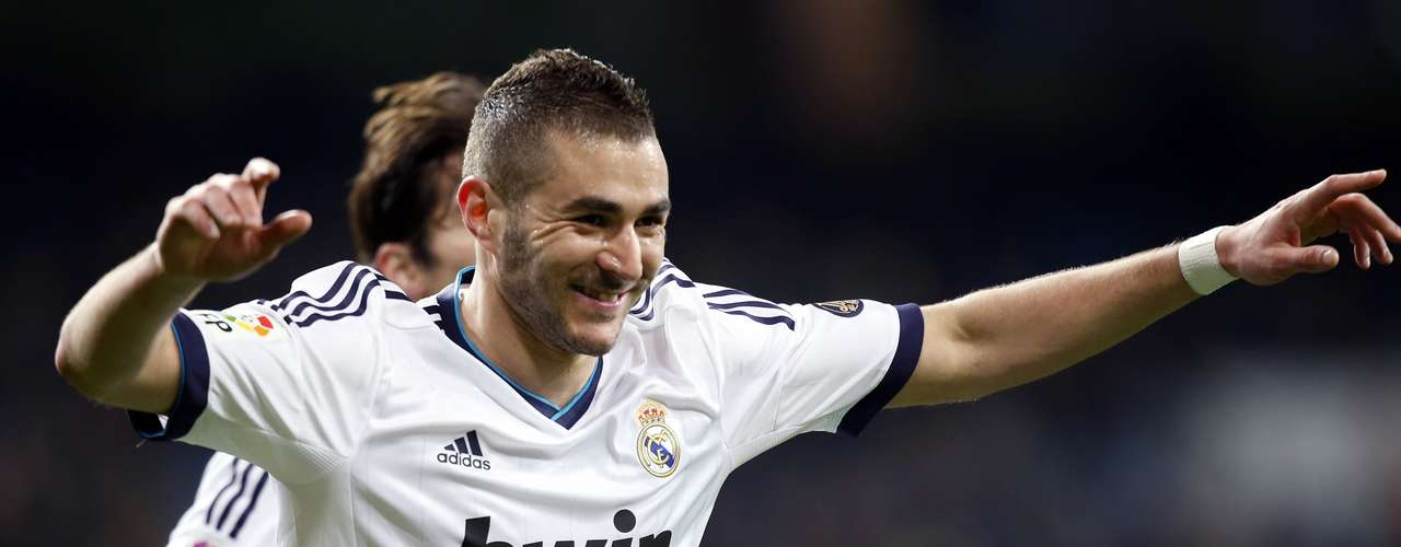 Karim Benzema celebrates after scoring Real Madrid's first goal.