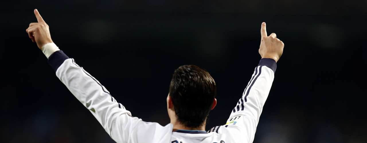 Real Madrid's Cristiano Ronaldo celebrates after scoring his second goal.