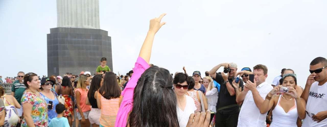 Kim Kardashian y Kanye West visitaron el Cristo Redentor en la mañana del sábado en Río