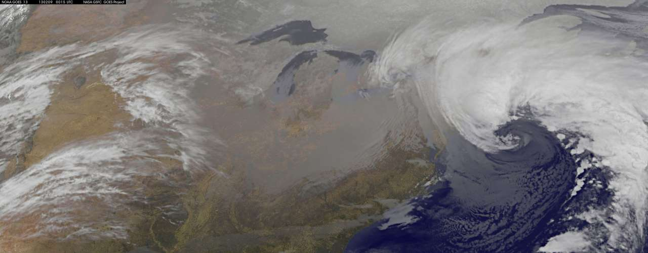 A blizzard is seen over Canada and the northeastern United States in this February 8, 2013 GOES satellite image courtesy of NOAA. The blizzard slammed into the northeastern United States on Friday, snarling traffic, disrupting thousands of flights and prompting five governors to declare states of emergency in the face of a fearsome snowstorm. REUTERS/NASA/NOAA/GOES Project/Handout (UNITED STATES - Tags: ENVIRONMENT) FOR EDITORIAL USE ONLY. NOT FOR SALE FOR MARKETING OR ADVERTISING CAMPAIGNS. THIS IMAGE HAS BEEN SUPPLIED BY A THIRD PARTY. IT IS DISTRIBUTED, EXACTLY AS RECEIVED BY REUTERS, AS A SERVICE TO CLIENTS