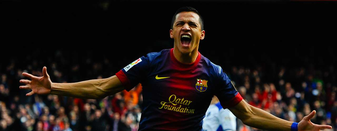 Alexis Sanchez celebrates after scoring.