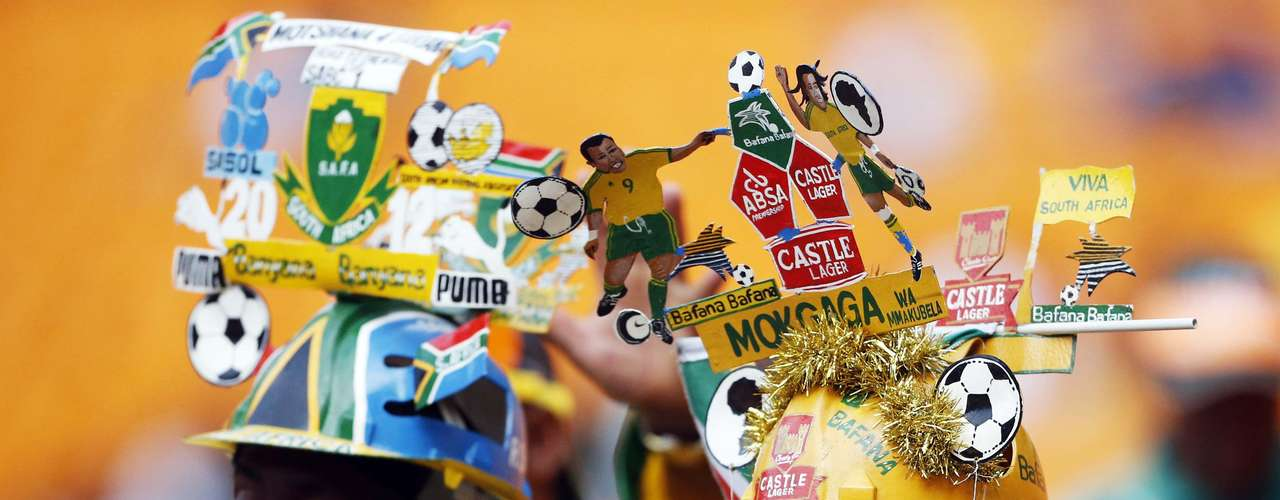 South African soccer fans cheer ahead of the African Nations Cup