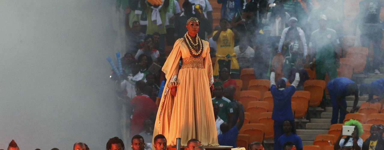 Performers take part in the closing ceremony ahead of the African Nations Cup.