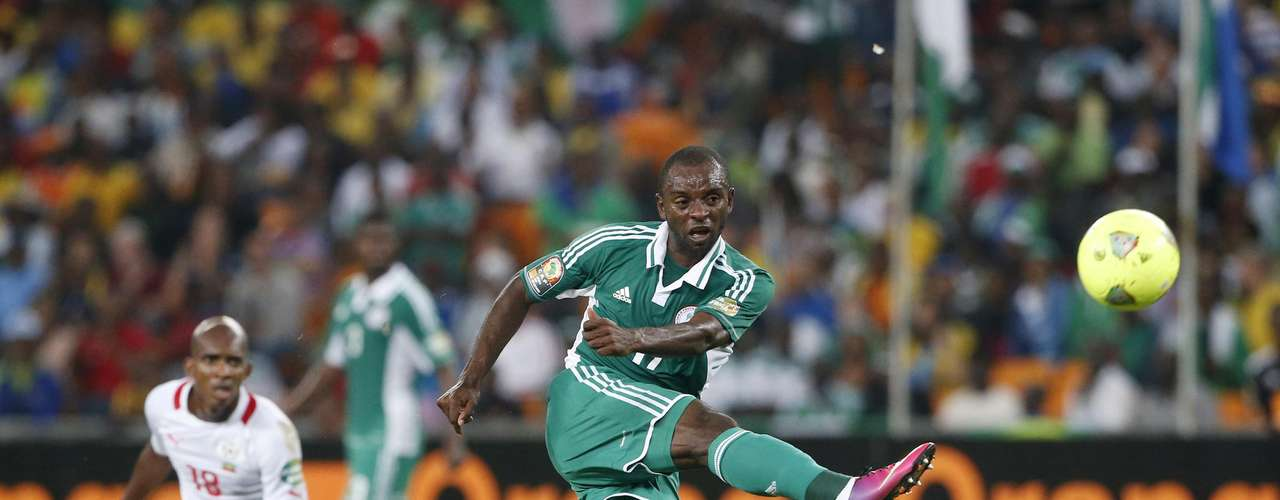 Nigeria's Sunday Mbah kicks the ball during their African Nations Cup,