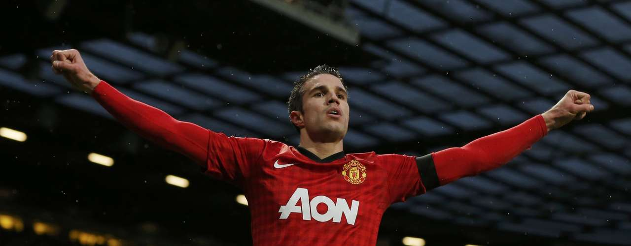 Manchester United's Robin van Persie celebrates after scoring.