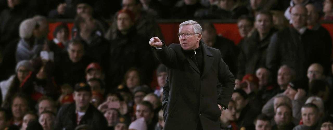 Manchester United's manager Alex Ferguson gestures.