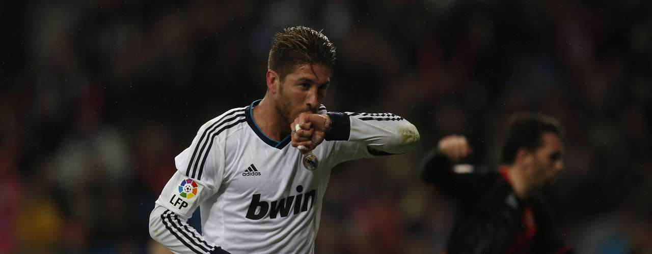 Sergio Ramos celebrates his goal.