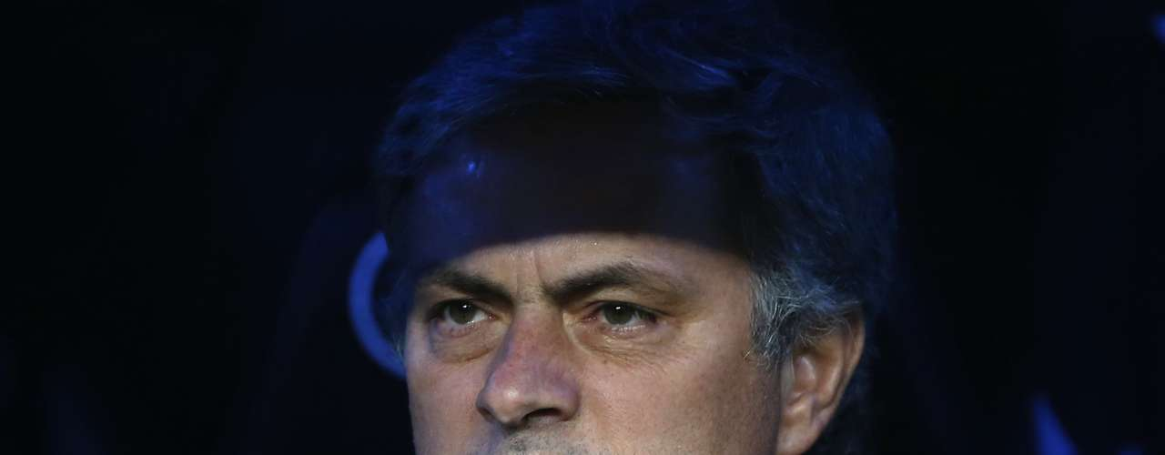 Coach Jose Mourinho looks serious.