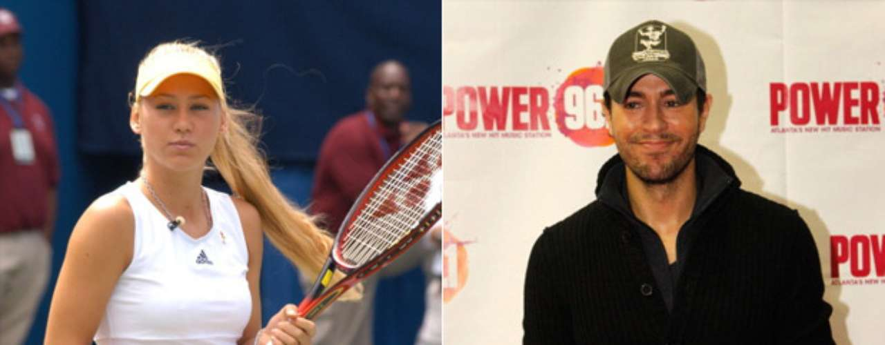 Anna Kournikova y Enrique Iglesias: La ex tenista rusa y el cantante español son pareja desde finales de 2001, después de que ella apareciera en el video de la canción Escape.