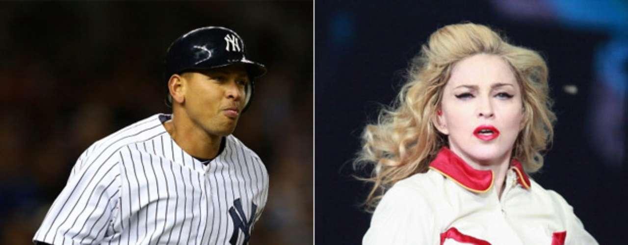 Alex Rodriguez y Cameron Diaz/Madonna/Kate Hudson: El tercera base de los Yankees es uno de los más mujeriegos del mundo del deporte, como lo demuestran sus relaciones con Diaz (2010-2011), su romance con Madonna (en la foto) en 2008, y su noviazgo con Hudson en 2009.