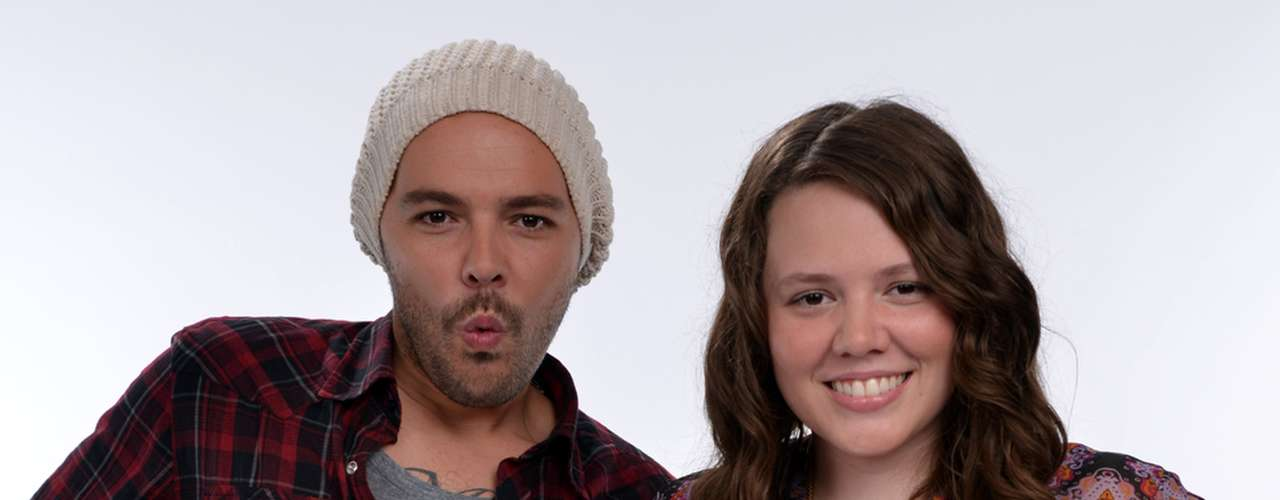 Brother-sister duo Jesse y Joy pose for a funny photo.