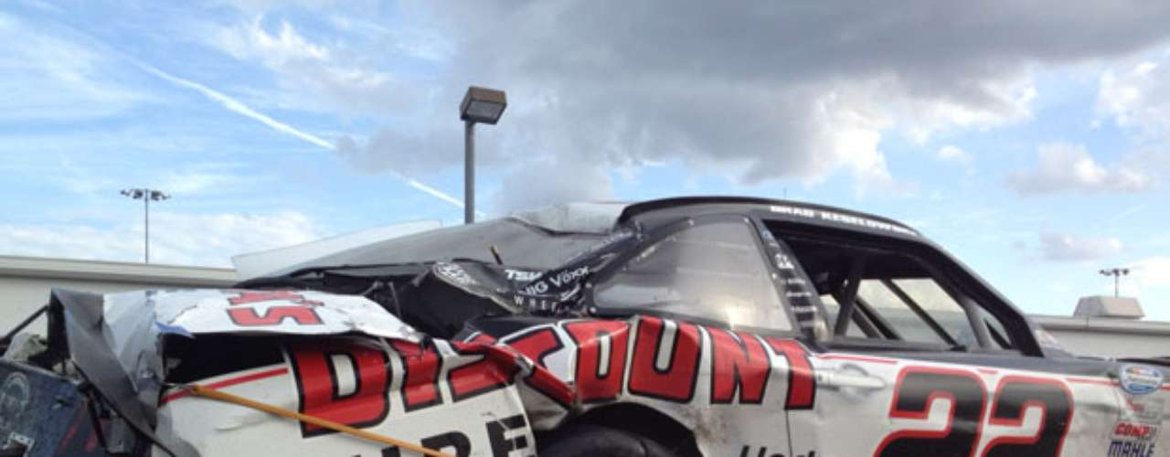 The No. 22 car's rear end looks like it was a participant in a demolition derby rather than a NASCAR race.