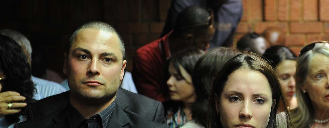 Then, three days later, it was revealed that Pistorius' older brother Carl (left, with sister Aimee), was on trial for culpable homicide for killing a female motorcyclist in 2008.