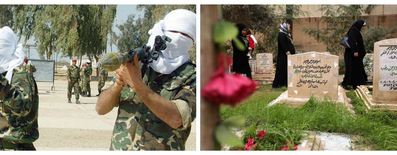 Otro contraste de fotografías: la imagen de 2003 muestra a los árabes que se ofrecieron como voluntarios para defender a Irak en un campo de entrenamiento militar. La de 2013 representa las consecuencias de una guerra, las tumbas de los combatientes.