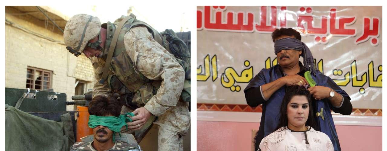 En esta imagen se puede ver a la izquierda un soldado de la marina de EE.UU. vendando los ojos a un presunto insurgente en noviembre de 2004 y en la derecha un peluquero iraquí compitiendo en un concurso el pasado 9 de febrero de 2013.