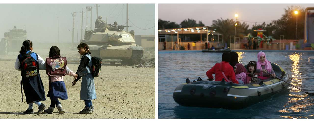 Mientras en 2003, los niños caminaban entre tanques para ir al colegio, en2013 pueden divertise montando en las barcasde un parque de atracciones deBagdad y olvidar los episodios de guerra.