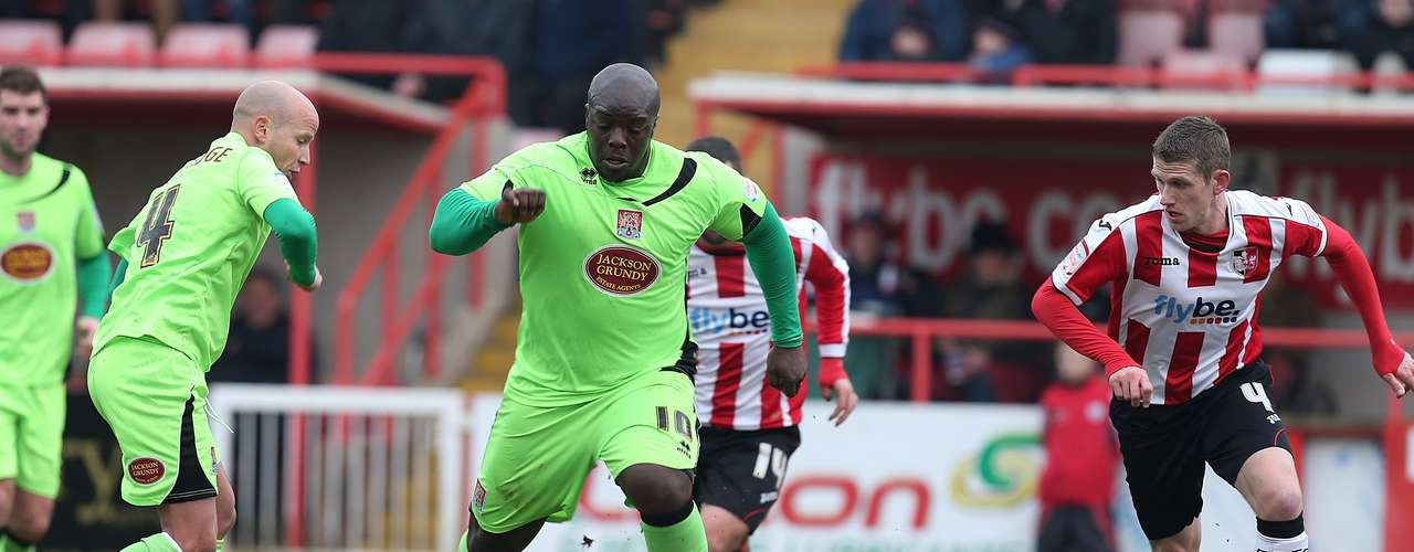 "Known as ""The Beast"",  Akinfenwa plays for Northampton and can bench press up to 395 pounds."