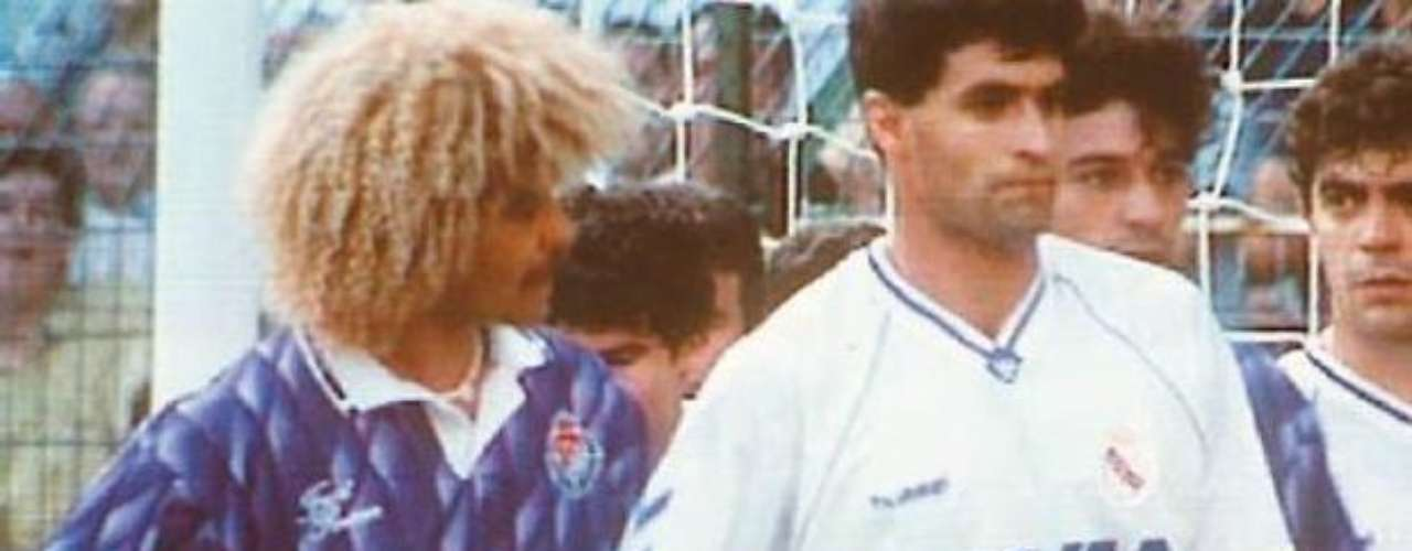 In 1991, in a match between Real Madrid and Real Valladolid in Santiago Bernabeu, Miguel 'Michel' Gonzalez got carried away on a corner kick and, without meaning to (we hope), ended up touching Carlos 'Pibe' Valderrama's private parts. The moment was captured on camera and the Spaniard became a running joke in the media for months.