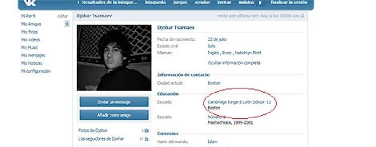 El joven se encontraba en Estados Unidos como estudiante, de hecho su nombre aparece en la lista de los beneficiados de una beca de un colegio público de Cambridge en 2011, como se puede comprobar en la propia página web del centro.