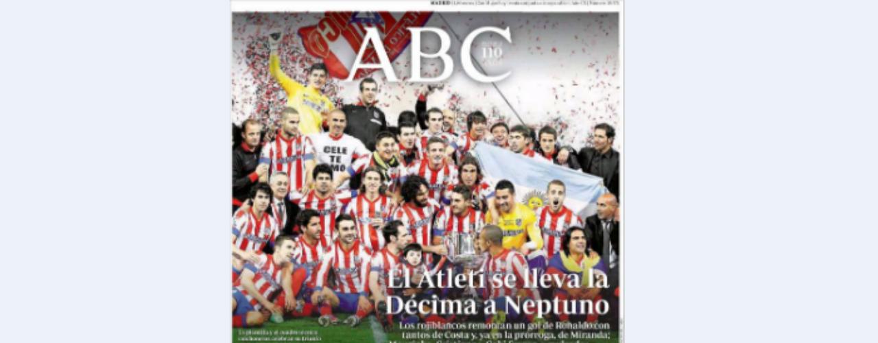'ABC' recoge en su portada la victoria del Atlético de Madrid contra el Real Madrid en la Copa del Rey. Además alude a la nueva ley educativa con el titular: \
