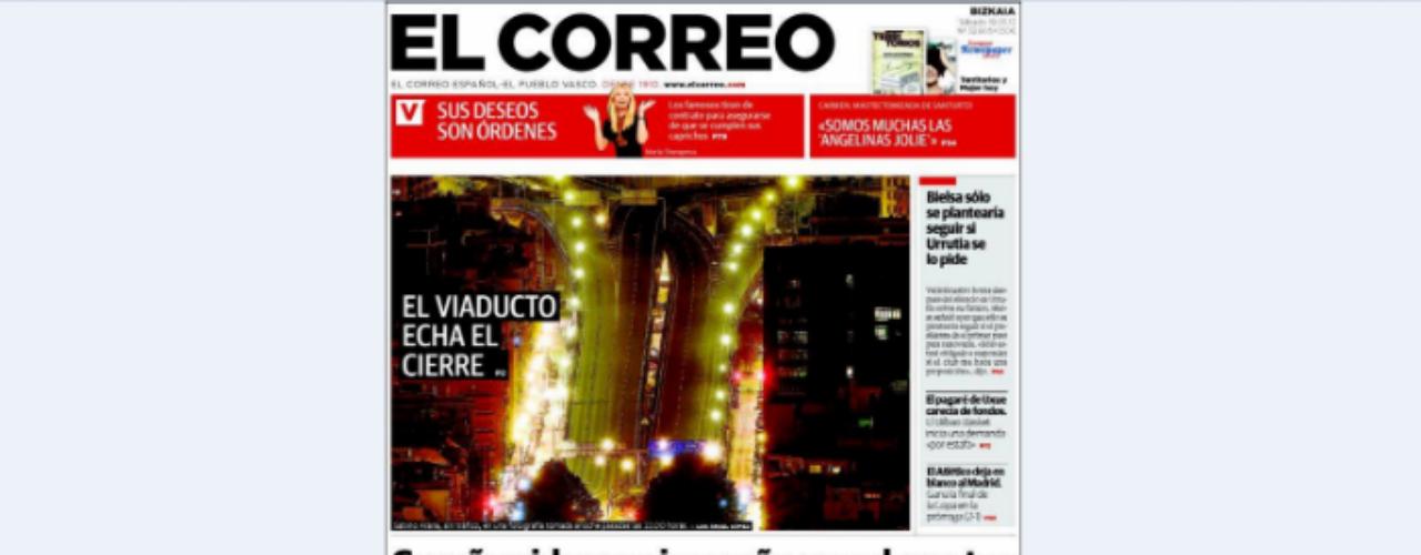 'El Correo' abre con imagen del viaducto que ha sido cerrado. El titular va dedicado a la central nuclear de Garoña que \