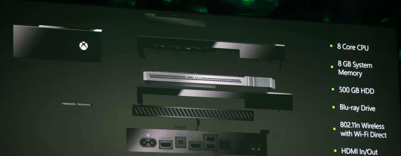 La consola cuenta con 8GB de memoria RAM, un procesador de 8 núcleos y de un disco interno de 500GB. También integra el sistema de comunicación por internet Skype para permitir llamadas con video.