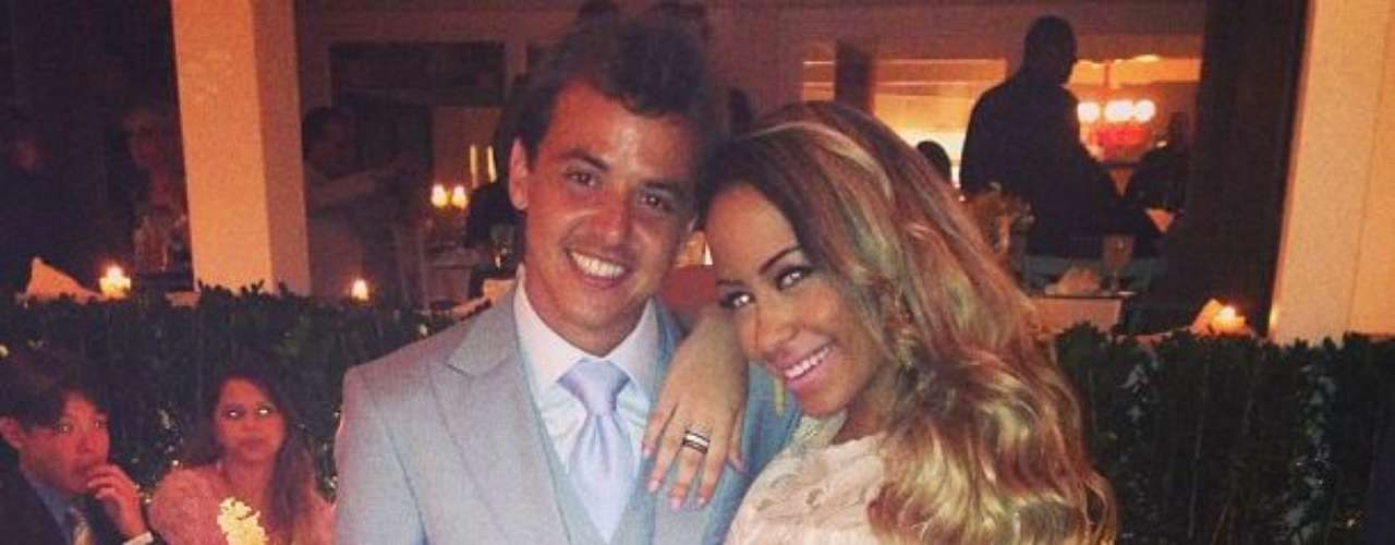 Posing with Brazilian soccer player Bruno Agnello during the wedding of Sao Paulo player Paulo Henrique Ganso