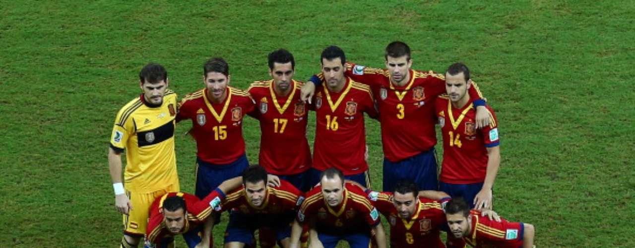 El once inicial de España.