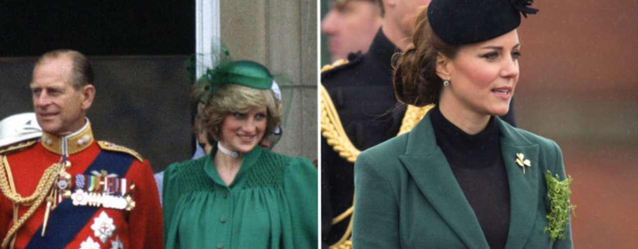 El estilo de ambas durante su primer embarazo ha sido muy similar. Diana vistió un abrigo de lana verde muy parecido al diseño de Emilia Wicksteadque Kate eligió el pasado San Patricio.