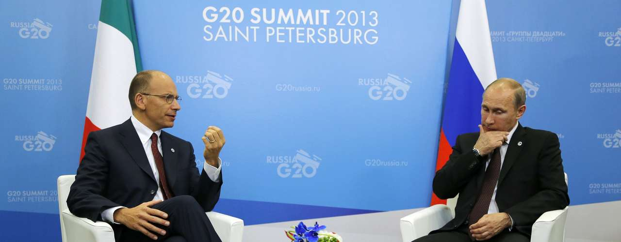 Russia's President Vladimir Putin (R) meets with Italy's Prime Minister Enrico Letta at the G20 Summit in Strelna near St. Petersburg September 5, 2013. REUTERS/Dmitry Lovetsky/Pool (RUSSIA - Tags: POLITICS BUSINESS)