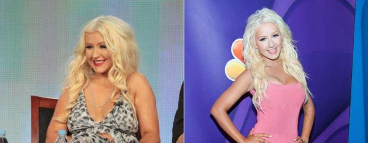 Christina Aguilera. La espectacular cantante ha perdidoen tan sólo tres meses 22 kilos, según reveló a la revista Life & Style, cambio que logró modificando su dieta, evitando los restaurantes y sometiéndose a una rigurosa rutina física
