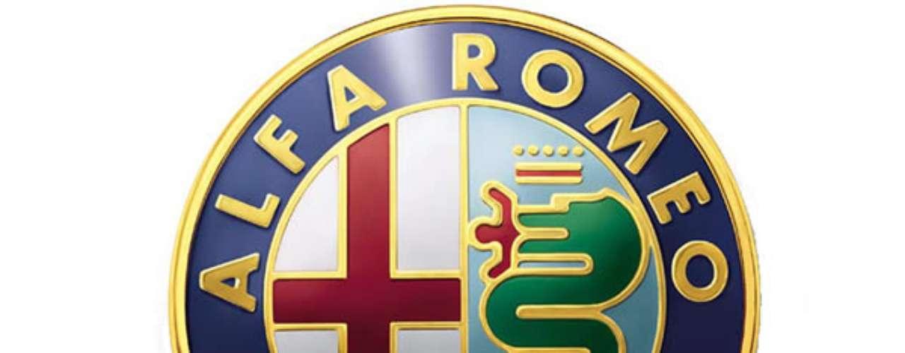 Alfa Romeo. Marca italiana fundada en 1910 en Milán. El primer escudo de Alfa es obra de un técnico que uso como referente la torre del Filarete (la principal del castillo de los Sforza), en la cual se veía plasmada una serpiente que se está comiendo un hombre.